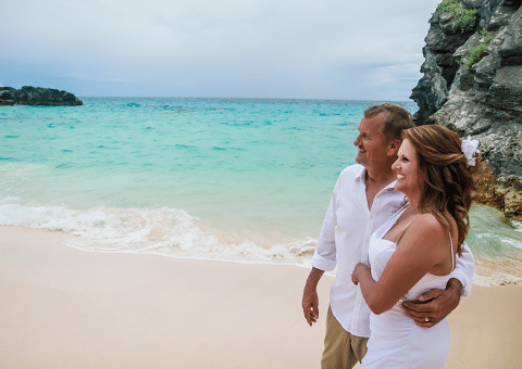 Wedding on the Beach - Turquoise Waters in Background